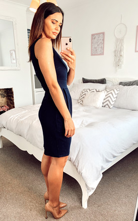 Navy Tulip Dress With Pockets by Mela London
