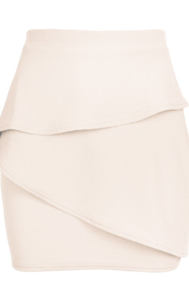 Marley High Waisted Tiered Frill Mini Skirt In Nude by Oops Fashion