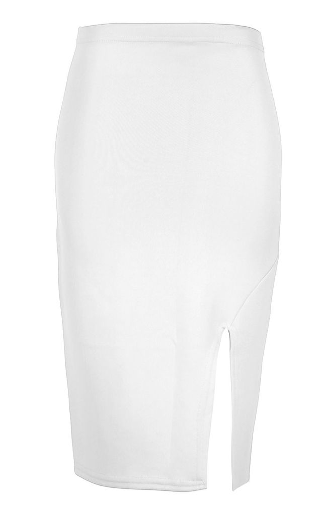 Side Split Bodycon Midi Skirt In Cream by Oops Fashion