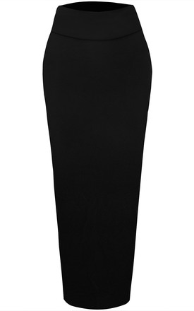 High Waisted Midi Pencil Skirt in Black by Oops Fashion