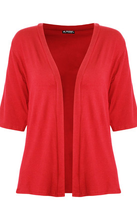 Jess Front Open Cardigan In Red by Oops Fashion