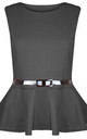 Carley Sleeveless Belted Peplum Top In Charcoal by Oops Fashion