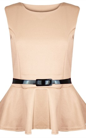 Carley Sleeveless Belted Peplum Top In Stone by Oops Fashion