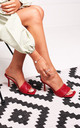 Candid Red Nappa Square Toe Heel With Woven Front Strap by Linzi