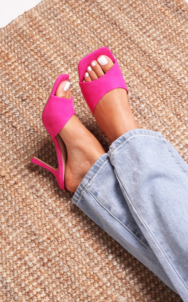 Penelope Fuchsia Suede Slip On Square Toe Mule by Linzi