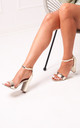 Nelly Barely There Block Heels in Gold Chrome by Linzi