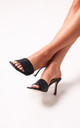 Candid Black Nappa Square Toe Heel With Woven Front Strap by Linzi