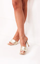 Candid Gold Square Toe Heel With Woven Front Strap by Linzi