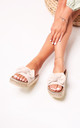 Rare Beige Suede Slip On Slider With Bow Detail & Beaded Trim by Linzi