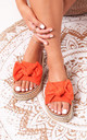 Rare Orange Suede Slip On Slider With Bow Detail & Beaded Trim by Linzi
