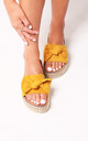 Rare Yellow Suede Slip On Slider With Bow Detail & Beaded Trim by Linzi