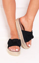 Rare Black Suede Slip On Slider With Bow Detail & Beaded Trim by Linzi