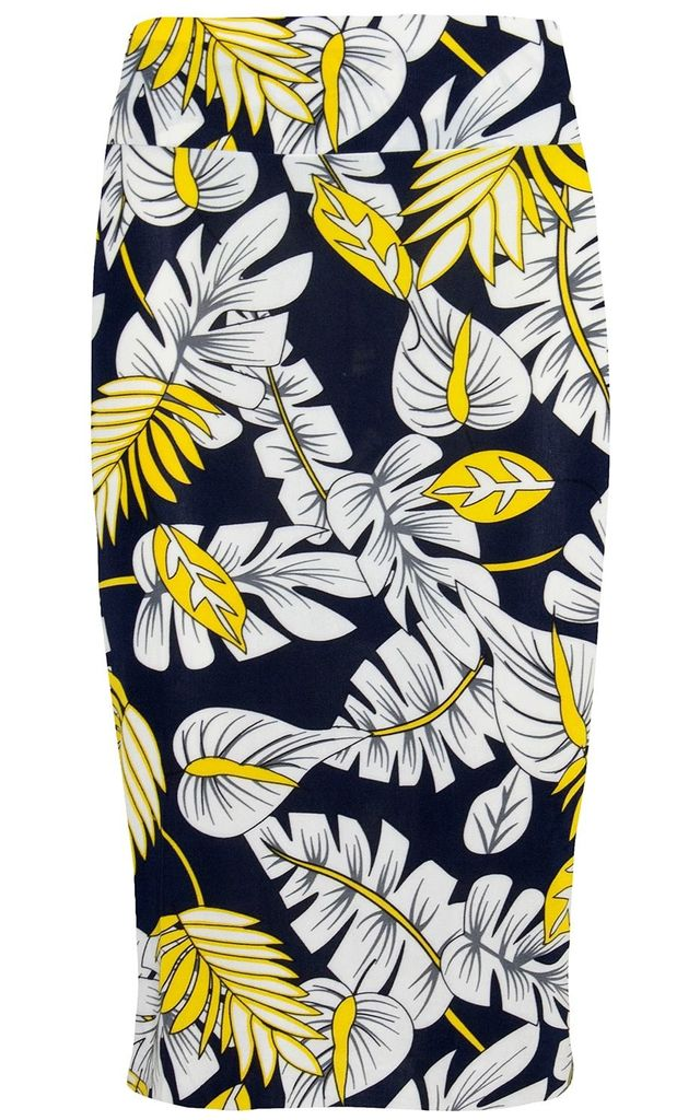 High Waisted Bodycon Midi Skirt in White Yellow Leaf by Oops Fashion