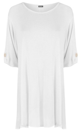 Oversized T-Shirt with Turn Up Sleeves in White by Oops Fashion