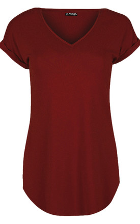 Sofia Turn Up Sleeve Tshirt In Wine by Oops Fashion