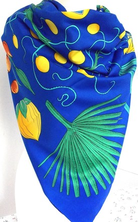 Blue and Yellow Palm Tree Print Large Silk Scarf by Olivia Divine Jewellery