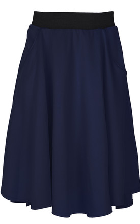 High Waist Dipped Hem Midi Skirt In Navy by Oops Fashion