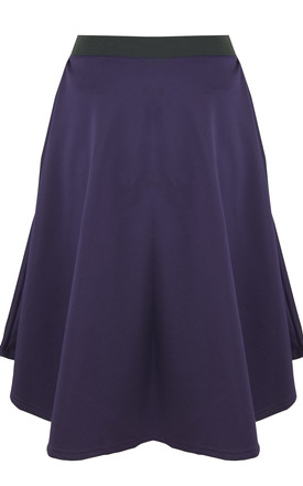 High Waist Dipped Hem Midi Skirt In Purple by Oops Fashion
