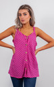 STRIPED LINEN VEST TOP WITH BUTTONS (PURPLE) by Lucy Sparks