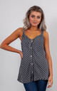 STRIPED LINEN VEST TOP WITH BUTTONS (CHACOAL GREY) by Lucy Sparks