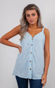 STRIPED LINEN VEST TOP WITH BUTTONS (BABY BLUE) by Lucy Sparks