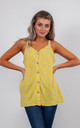 STRIPED LINEN VEST TOP WITH BUTTONS (YELLOW) by Lucy Sparks