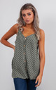 STRIPED LINEN VEST TOP WITH BUTTONS (KHAKI GREEN) by Lucy Sparks