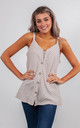 STRIPED LINEN VEST TOP WITH BUTTONS (BEIGE) by Lucy Sparks