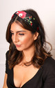 Floral Satin Twist Knot Headband in Black & Red by One Nation Clothing