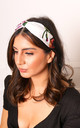 Floral Satin Twist Knot Headband in White, Pink & Green by One Nation Clothing