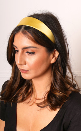 Wide Satin Alice Headband in Mustard Yellow by One Nation Clothing