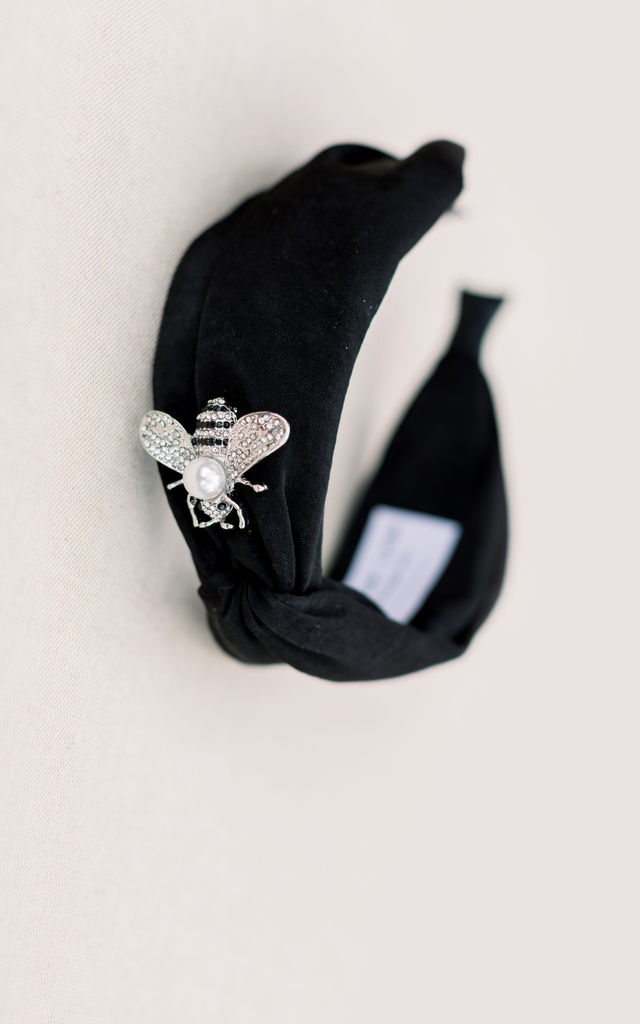 Black Satin Headband with Silver Bee by Farrow Low