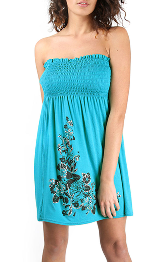 Floral Rose Shering Swing Boobtube Mini Dress Top Turquoise by Oops Fashion