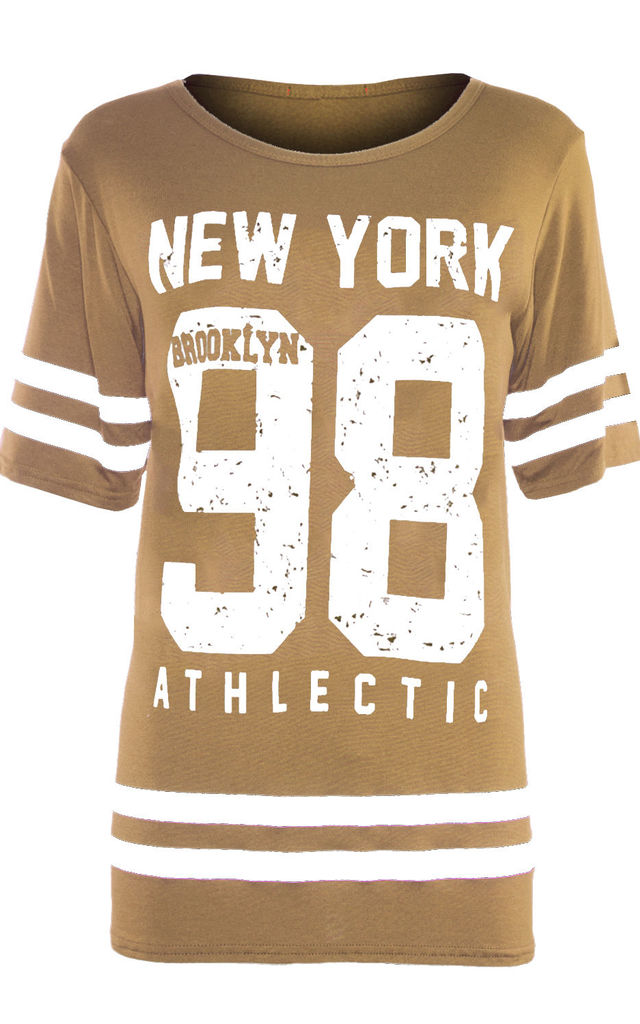 Newyork 98 Camel Oversized T-Shirt with Sports Print by Oops Fashion