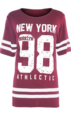 Newyork 98 Wine Oversized T-Shirt with Sports Print by Oops Fashion