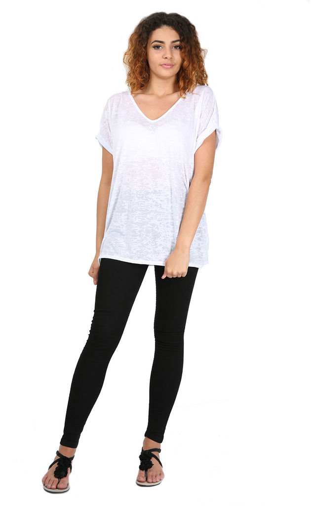 Sarah V Neck Turn Up Sleeve TShirt In White by Oops Fashion