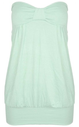 Bardot Bow Front Baggy Jersey Top MInt by Oops Fashion