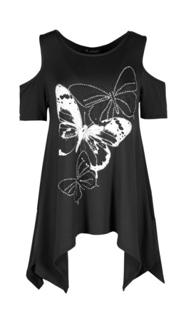 Sophie Cold Shoulder Top In Black Butterfly Print by Oops Fashion