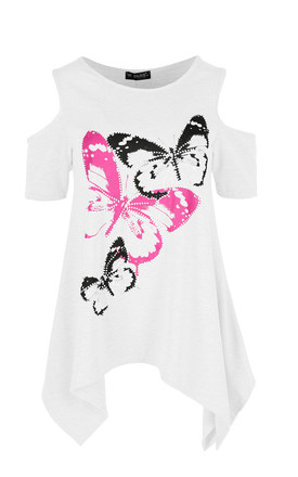 Sophie Cold Shoulder Top In White Butterfly Print by Oops Fashion