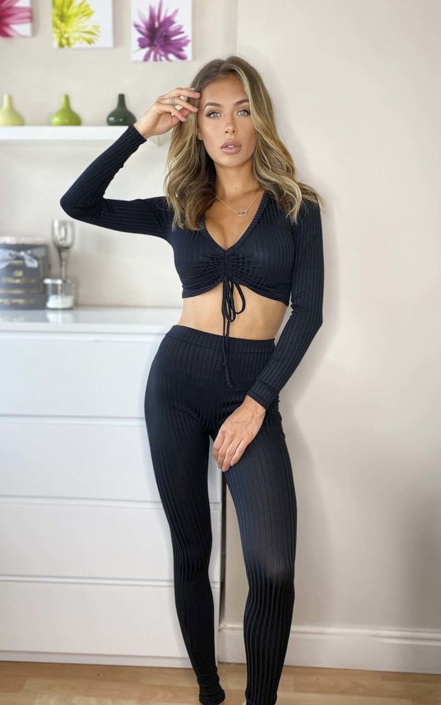 Kirstin Ribbed Lounge Co-ord in Black by IKRUSH