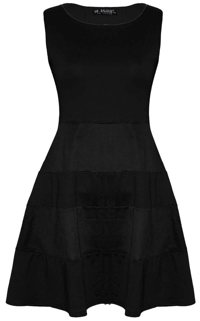 Black Colour Block Mini Skater Dress by Oops Fashion
