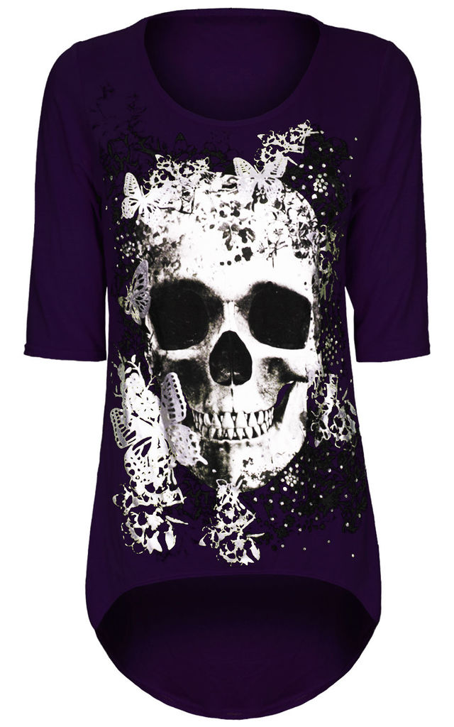 Purple Cropped Sleeve Top with Butterfly Skull Print by Oops Fashion