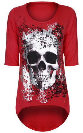 Red Cropped Sleeve Top with Butterfly Skull Print by Oops Fashion