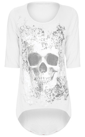 White Cropped Sleeve Top with Butterfly Skull Print by Oops Fashion