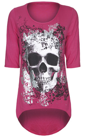 Cerise Cropped Sleeve Top with Butterfly Skull Print by Oops Fashion