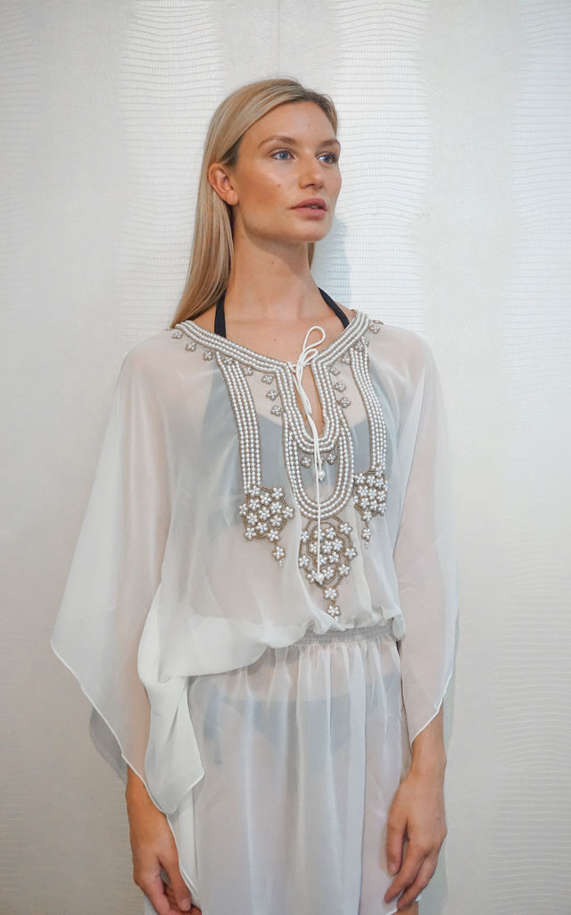 White Kaftan With Beaded Detailing by Trillion London
