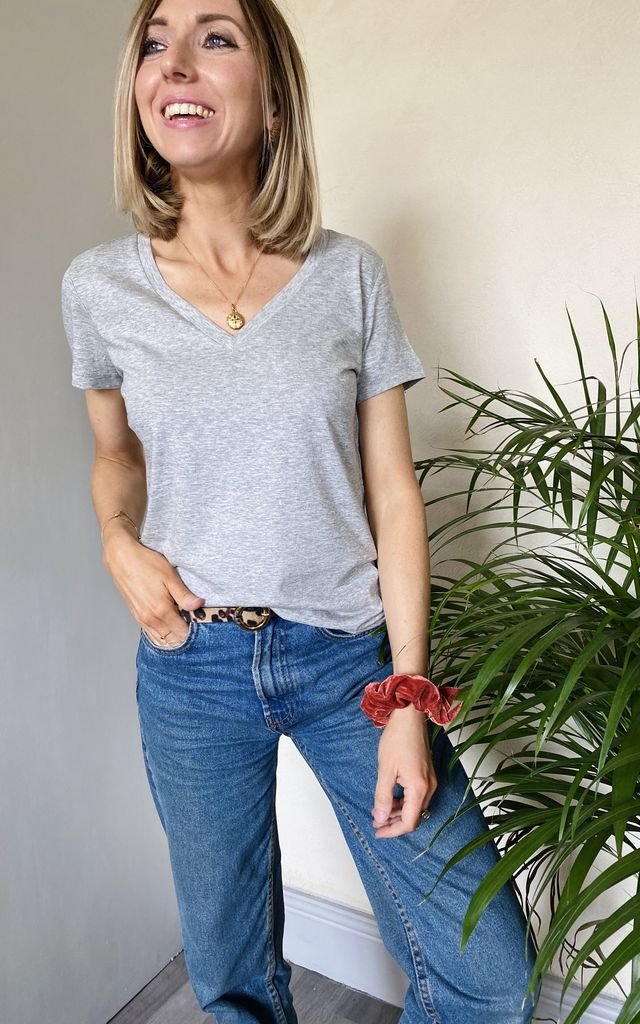 Organic Basic Grey V Neck T Shirt by Rock On Ruby