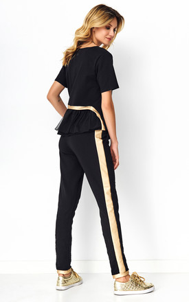 Black Tracksuit Set with Decorative Strap by Makadamia