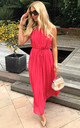 Sleeveless Pleated Full Length Maxi Dress in Pink by CY Boutique