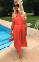 Pleated Maxi Dress in Coral by CY Boutique